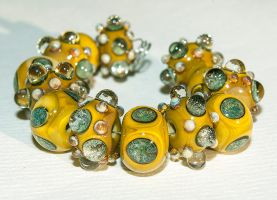 Handmade 'Mustard Madness' Glass Beads by copperrein