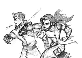 Sketch - Asami Punch by charlestanart
