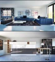 Living Room and Kitchen Vray Render by externible