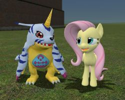 Fluttershy and Gabumon by sp19047