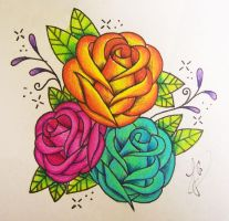 Freehand Roses by xpropaganda