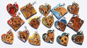 Coloured Pendants - Woodburning Animal Pendants by BumbleBeeFairy