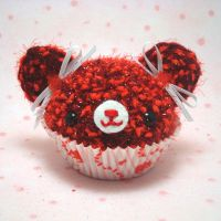 Red Flower Valentine cupcake by amigurumikingdom