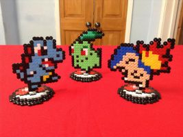 Pokemon: Johto Starters- Hama Designs by Dogtorwho