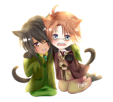 Hetalia OC + America || Neko Pur Point Commission. by Akeita
