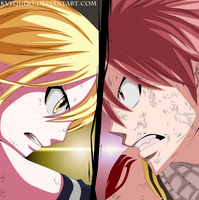 Fairy Tail Chapter 327 Colored Natsu and Lucy by kvequiso
