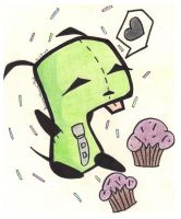 Gir Loves Cupcakes by TheFunOfCUtting