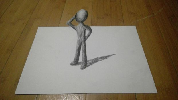 3D sketch man poping out by captaincrunch1950