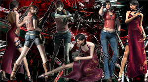 Claire Redfield and Ada Wong Background by MistressYukiTraigen
