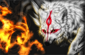 Amaterasu .: Red Fire :. by WhiteSpiritWolf