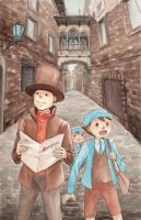 Professor Layton in Barcelona by korilin