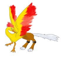 Moltres and Entei Griffin by moltres93