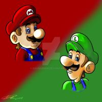 Comic Mario Luigi Design Busts by DavidUnwin
