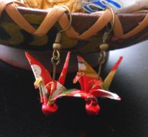 Origami Crane Earrings with Jingle Bells by sakuralu83