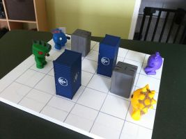 Giant Monster Battle unpainted board w/figs 2 by Hungryclone