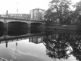 River Taff, Cardiff, black and white. by Anjyu1995