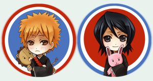 Bleach button set IchiRuki by Radittz