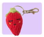 Cute Knitted Strawberry Keychain by AmareeLis