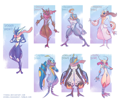 Greninja Variants by Tyshea