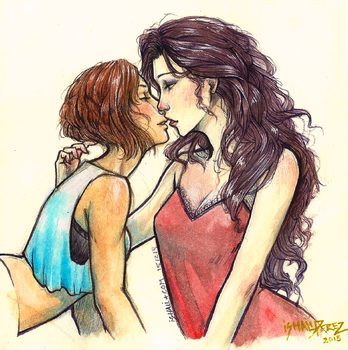 Korra and Asami by ishali