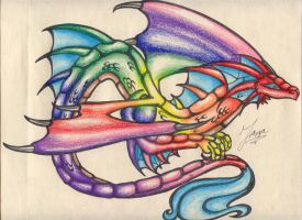 : Rainbow Dragon : by maniacartist