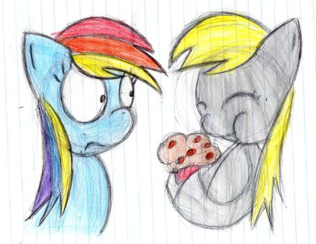 Rainbow Dash and Derpy by invaderVillo