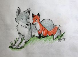 Fox 'n Wolf Friends by Zakuro-Kona