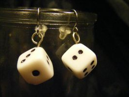 dice earrings single white by BacktoEarthCreations