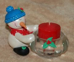 Snow Man Candle Holder by noe6