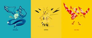 Minimalist Pokemon 144 to 146 by Boydom