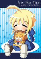 Fate/Stay Night - Chibi Saber and Saber Lion by Plasism