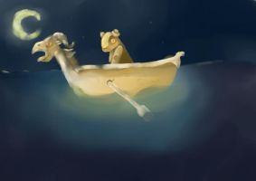 Golden Boat at Midnight by hatthecat123