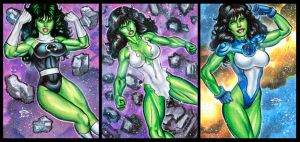 SHE HULK PERSONAL SKETCH CARDS JANUARY 2017 by AHochrein2010