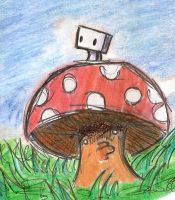 Mr. Boxy on a Mushroom by zxcvsaw