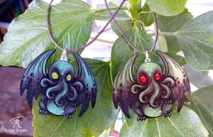 Baby Cthulhu Pendant by TrollGirl