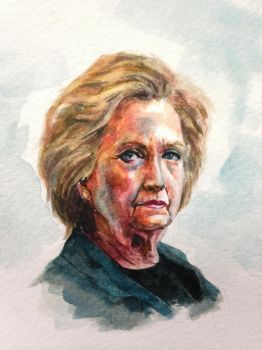Hillary Clinton Watercolor Painting by Ndzhang