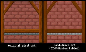 Pixel vs Hand Drawn - Brick Wall by Moosader
