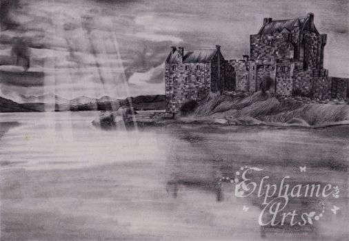 Eilean Donan - charity art for Cancer Research UK by ElphameArts