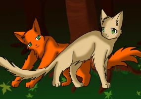 Fireheart and Sandstorm by SoraNeko13