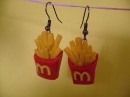Mcdonald's French Fry Earrings by PossumPip-Creations