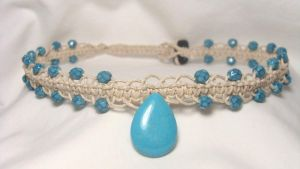 turquoise tear drop choker by HempLady4u