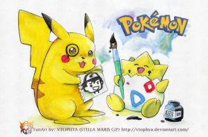 POKEMON-Drawing together- by vtophya