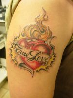 Burning Heart Tattoo by 2Face-Tattoo