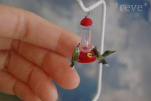 Miniature Hummingbirds * Handmade Sculpture * by ReveMiniatures