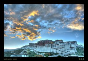 potala palace sunset by davidmcb