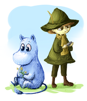 snufkin and moomin by LuluDig