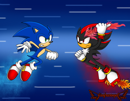 Sonic Vs Shadow by lissfreeangel