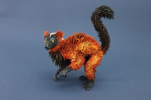 Red Ruffed Lemur I by hontor