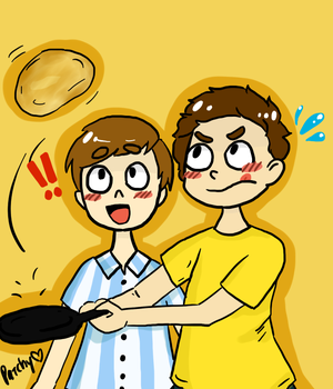 Morty and Orel- Pancakes! by nuclearmomo