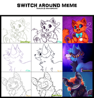 Switch around meme with rizusaur and rainsoda! by Smushey